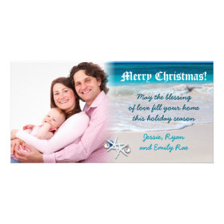 Beach and Ocean Water Custom Christmas Photo Card