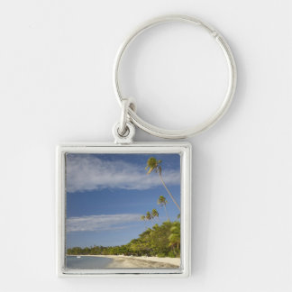 Beach and palm trees, Plantation Island Resort Silver-Colored Square Key Ring