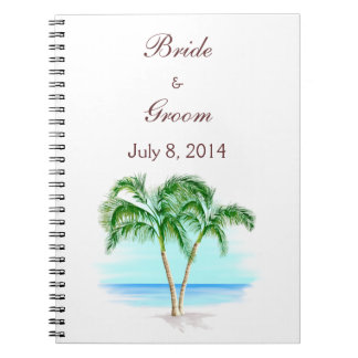 Beach And Palm Trees Wedding Guest Book Spiral Notebooks