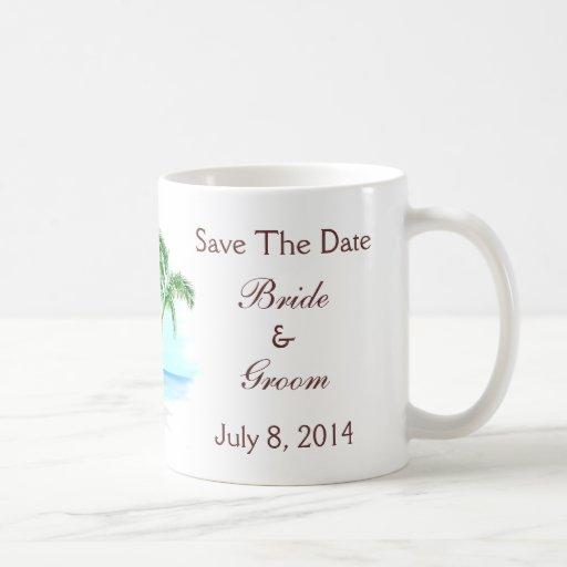 Beach And Palm Trees Wedding Save The Date Coffee Mug