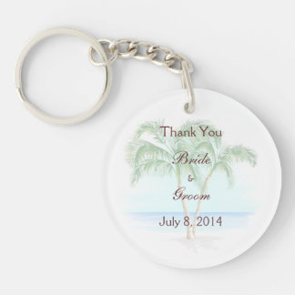 Beach And Palm Trees Wedding Thank You Double-Sided Round Acrylic Key Ring