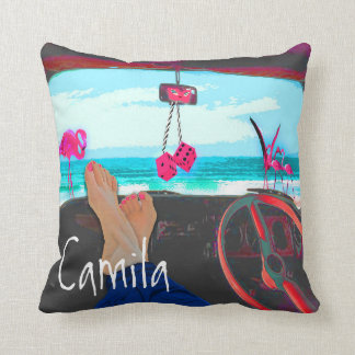 Beach and Personal in Pink | Blue Cushion