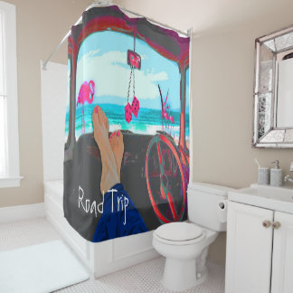 Beach and Personal in Pink | Blue Shower Curtain
