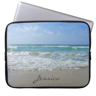 Beach and Sea Personalised Name Laptop Sleeve