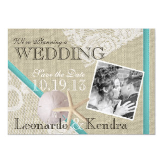 Beach and Vintage Lace Romantic Save the Date 11 Cm X 16 Cm Invitation Card