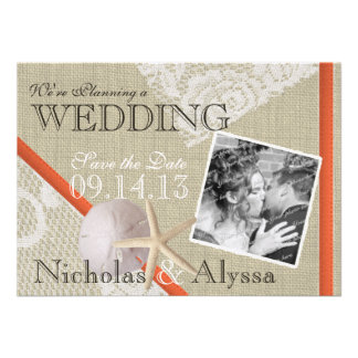Beach and Vintage Lace Romantic Save the Date Custom Invitation