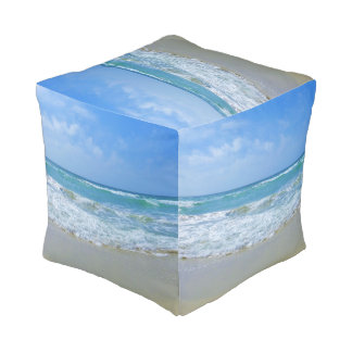 Beach and Wavy Sea Pouf