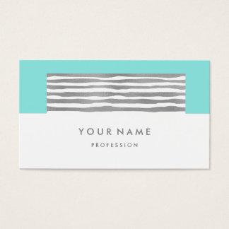 Beach Aqua Ocean Tiffany Silver Stripes White Business Card