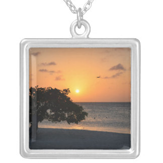 Beach at Sunset Silver Plated Necklace