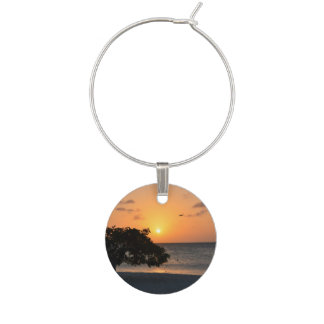 Beach at Sunset Wine Glass Charms