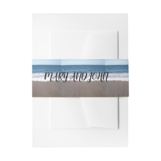 Beach At The Ocean Wedding Invitation Belly Band