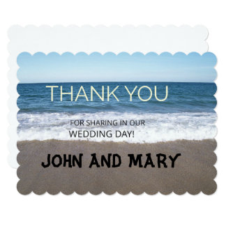 Beach At The Ocean Wedding Thank You Card