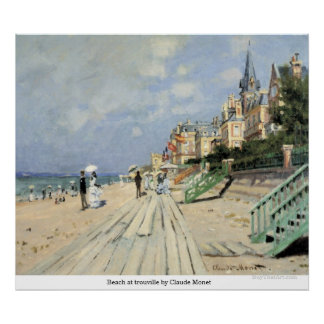 Beach at trouville by Claude Monet Poster