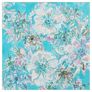 BEACH BABE Aqua Watercolor Floral Fabric