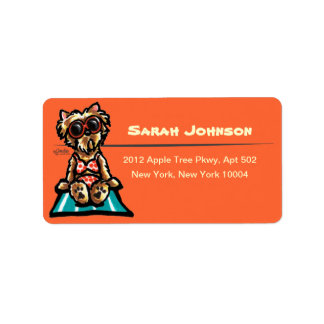 Beach Babe Yorkie Custom Color Address Label