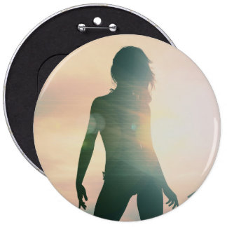 Beach Babes Sunset Silhouette Enjoying the Sun 6 Cm Round Badge