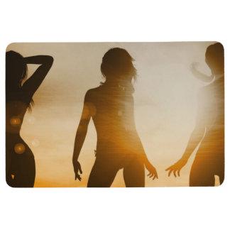 Beach Babes Sunset Silhouette Enjoying the Sun Floor Mat