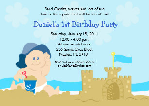 Beach Baby Sand Castle Boy Birthday Party 5x7 Invitation