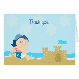 Beach Baby Sand Castle Boy Folded Thank you note