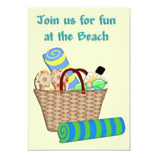 "Beach Bag and Towels Invite 5"" X 7"" Invitation Card"
