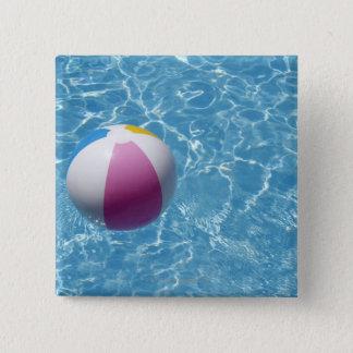 Beach ball in swimming pool 15 cm square badge