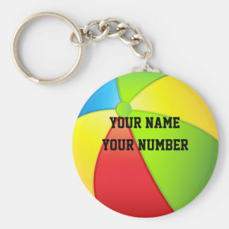 Beach Ball Keychain ID Tag YOUR NAME & Number
