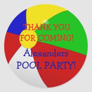 Beach Ball Pool Party Round Sticker