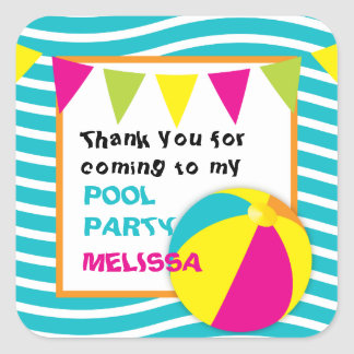 Beach Ball/Pool Party Round Stickers