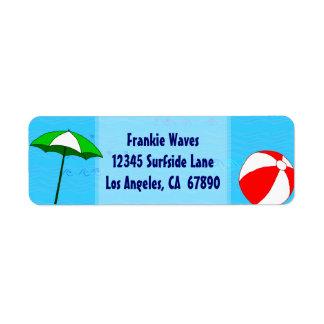 Beach Ball Pool Umbrella Custom Address Label