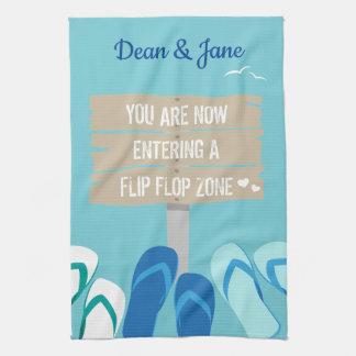 Beach Bar Surf Dude Flip Flops Beach Sign Tea Towel