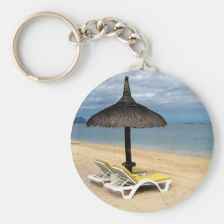 Beach Basic Round Button Key Ring