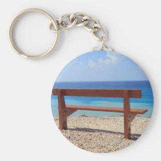 Beach bench basic round button key ring