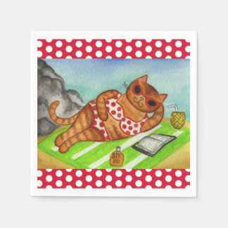 Beach Bikini Cat Party Picnic Napkins Disposable Serviette