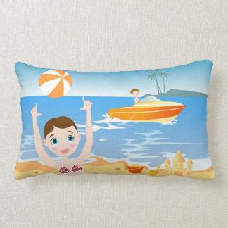 Beach bikini girl has a birthday party lumbar pillow