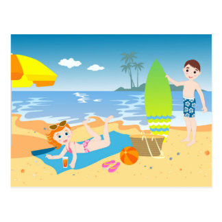Beach birthday party for kids postcard