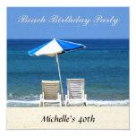 Beach Birthday Party Invitation Chairs Custom Invite