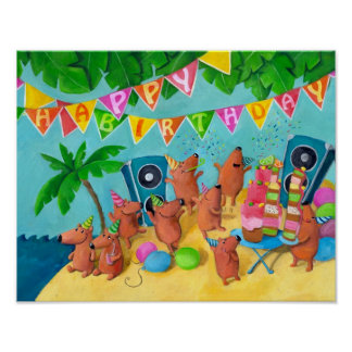 Beach Birthday Party Poster