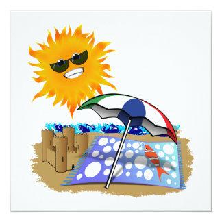 Beach Blanket And Sun Custom Invites