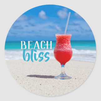 Beach Bliss Sandy Beach Tropical Cocktail Classic Round Sticker