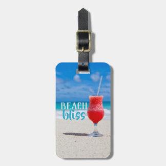 Beach Bliss Sandy Beach Tropical Cocktail Luggage Tag