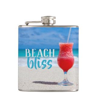 Beach Bliss Tropical Cocktail Sandy Beach Hip Flask