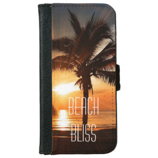 Beach Bliss Tropical Sunset and Palm Trees iPhone 6 Wallet Case