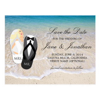 "Beach Blonde ""Mr. and Mrs."" Wedding Save the Date Postcard"
