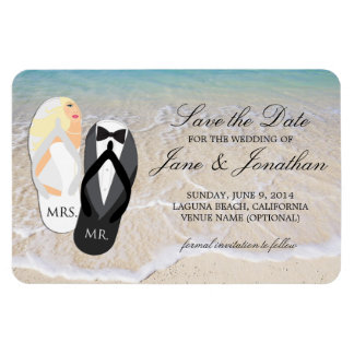 Beach Blonde Tropical Wedding Deluxe Save the Date Rectangular Photo Magnet