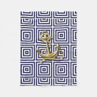 Beach Blue greek pattern preppy nautical Anchor Fleece Blanket