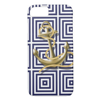 Beach Blue greek pattern preppy nautical Anchor iPhone 8/7 Case