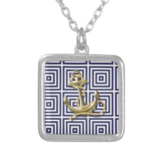 Beach Blue greek pattern preppy nautical Anchor Silver Plated Necklace