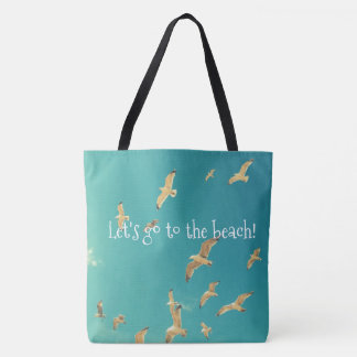 Beach blue tote bag with photo of seagull and sky