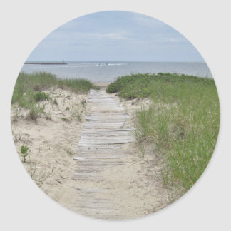 Beach boardwalk photo classic round sticker