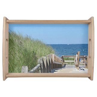 Beach boardwalk photo serving tray